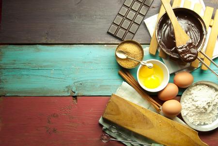 Baking ingredients backdrop Stock Photo