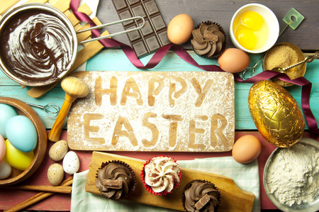 baking cake: Happy easter