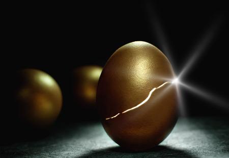 huevo: Nido de huevos de oro nueva vida Foto de archivo