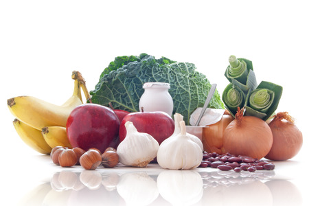 prebiotic: Prebiotic range of foods including dairy fruits vegetables and pulses