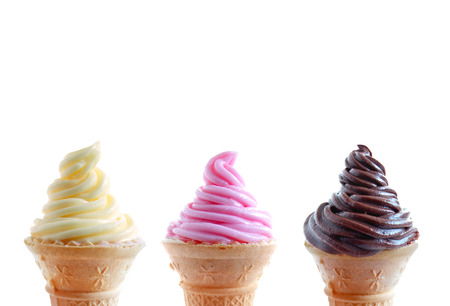 Ice cream cones in a row photo