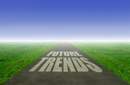emerging economy: New future trends concept with open road leading towards the horizon