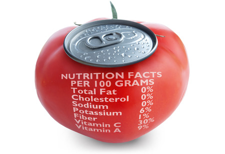 can food: Fresh tomato juice with nutrition facts Stock Photo