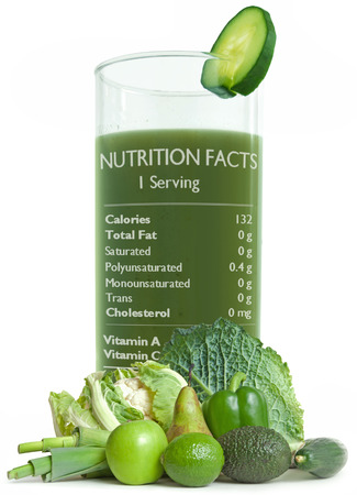 Green detox smoothie with health benefits label
