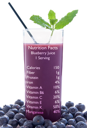 nutrition label: Blueberry juice with nutrition label over a white background