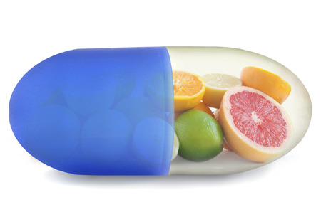 vitamin pills: Vitamin C pill