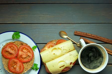 deli sandwich: Deli sandwich and cup of coffee