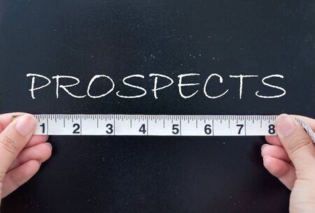 the prospects: Measuring prospects Stock Photo