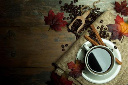 Herfst koffie achtergrond Stockfoto
