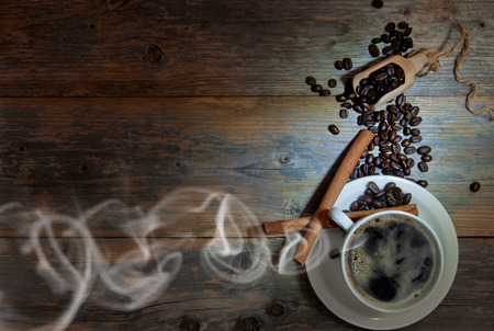 black beans: Steaming hot coffee with space