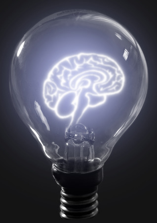 health technology: Light bulb brain Stock Photo