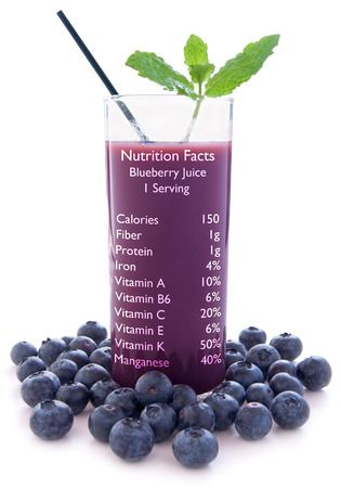 antioxidants: Blueberry juice with nutrition label over a white background