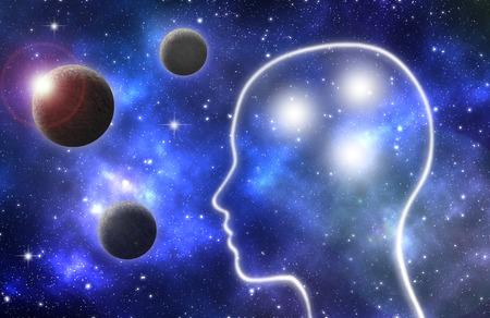 Gloeiende menselijk profiel binnen een melkweg van planeten en sterren