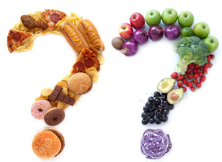 azucar: La elecci�n de alimentos poco saludables saludables Foto de archivo