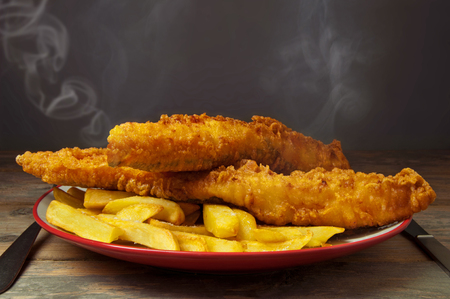 bass: Fish and chips Stock Photo