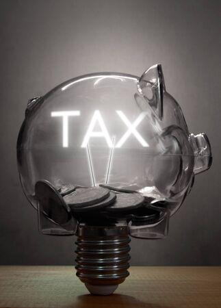 vat: Piggybank tax light bulb
