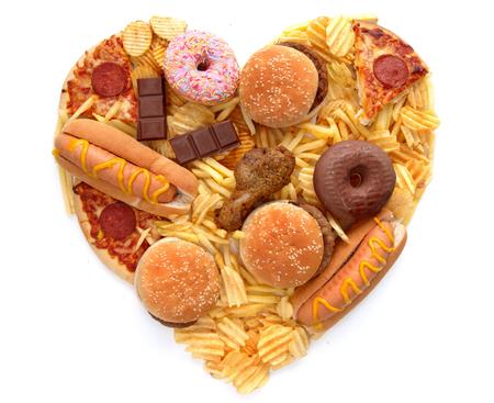 Junk food hartvorm Stockfoto