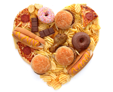 Junk food heart shape