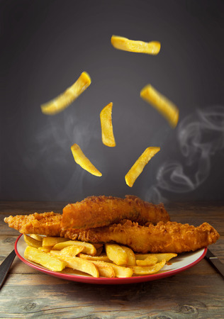 fish dinner: Fish and chips Stock Photo