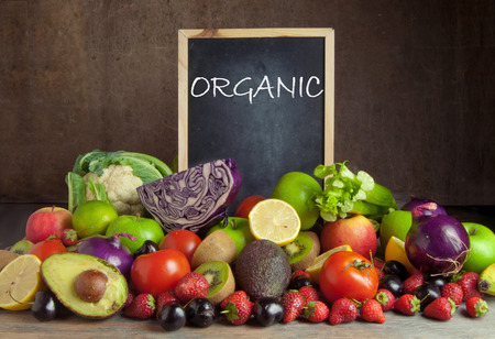 diet product: Organic fruits and vegetables Stock Photo