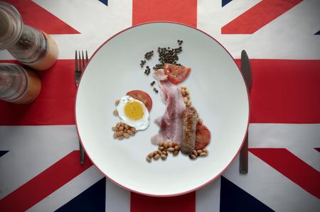 uk map: English breakfast UK map Stock Photo