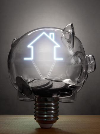 light house: Piggy bank house mortgage savings