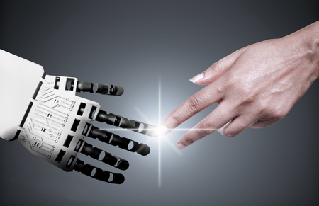 Robot and human touching forefingers