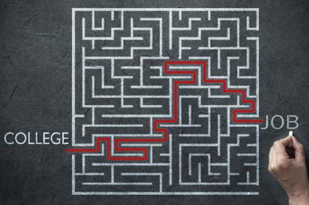the maze: Soluci�n camino laberinto que conduce de la universidad para trabajo Foto de archivo