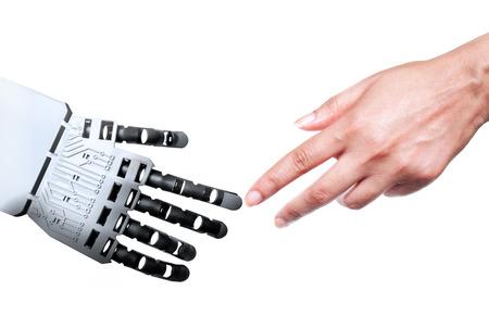 Robot y dedos índices tocar humanos