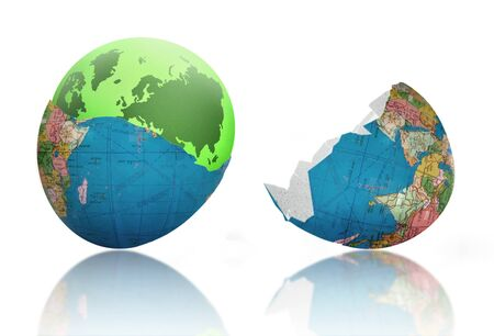 climate change: Green earth emerging from cracked egg shell world Stock Photo