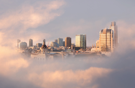 dreams of city: Modern urban cityscape in the clouds