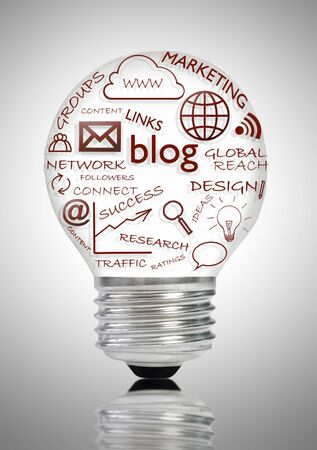 social web: Blog and social media icons light bulb over a white background Stock Photo