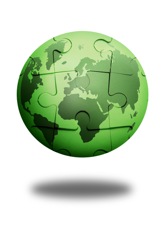 puzzle globe: Green jigsaw puzzle globe over a white background
