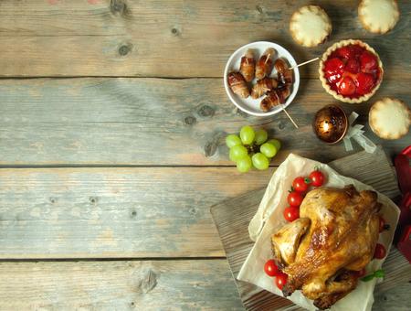 comidas: Acción de Gracias y Navidad de fondo con copyspace Foto de archivo