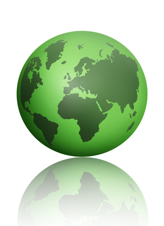 global environment: Green atlas globe map over a white background Stock Photo