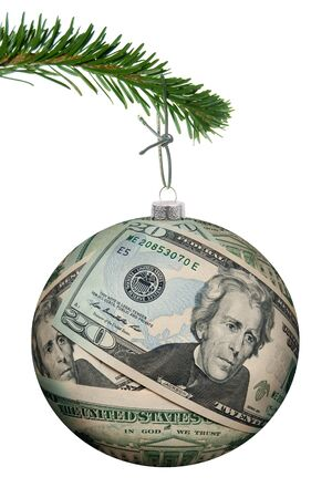 christmas budget: Dollar money bauble