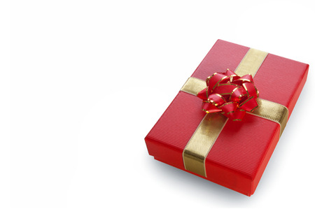 menu background: Christmas gift box over a white background with space