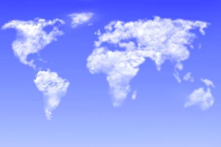 通信: 雲空の世界地図 写真素材
