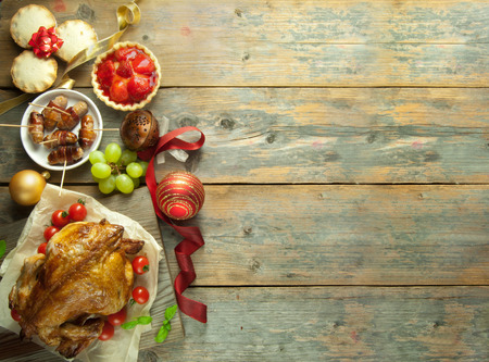 traditional christmas dinner: Christmas food background