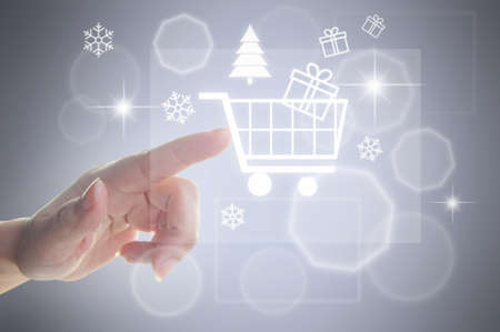 shopping cart icon: Christmas sales shopping concept cart icon Stock Photo