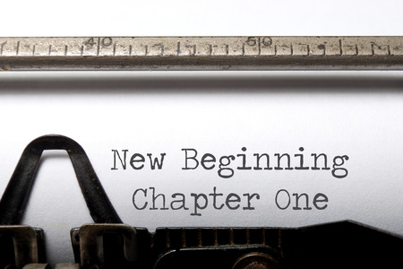new beginning: New beginning chapter one printed on a typewriter Stock Photo