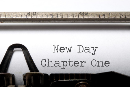 chapter: New day chapter one printed on a typewriter