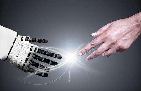 robot: Robot i połączenie ludzkiej Zdjęcie Seryjne