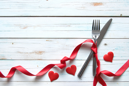 ribbon: Romantic meal background Stock Photo