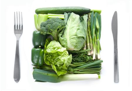 Gezond groen plantaardig dieetconcept