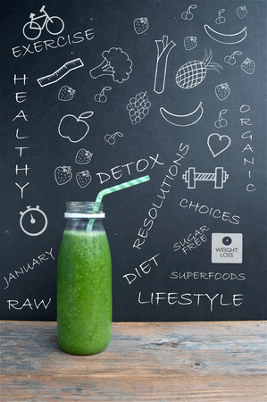 cleanse: Fruit and vegetable smoothie with sketched ingredients and lifestyle icons