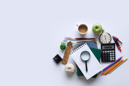 Study Desk: Education objects with background space Stock Photo