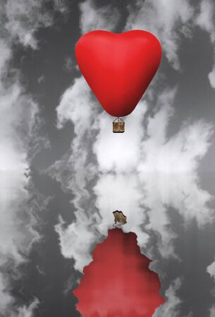 romance sky: Red hot air balloon in flight against a black and white sky