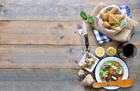 Greek food background Stock Photo