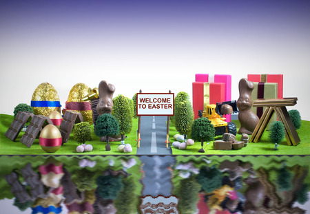 easter tree: Easter city concept